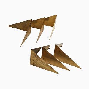 Scandinavian Modern Butterfly Shelves in Brass by Poul Cadovius, 1958, Set of 6