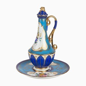 Porcelain Tray and Decanter with Stopper, Set of 2