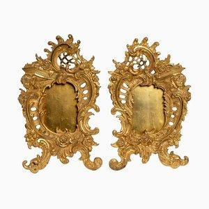 Gilt Bronze Photo Frames with Floral Decoration, Set of 2
