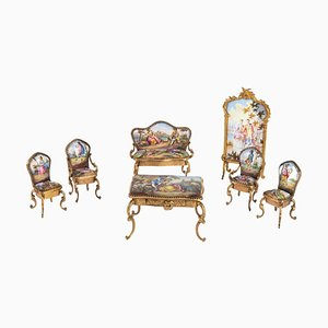 Miniature Gilt Bronze and Enamel Salon, Set of 7