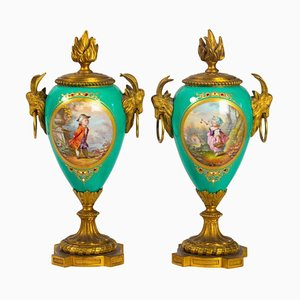 Gilt Bronze and Painted Porcelain Vases, Set of 2