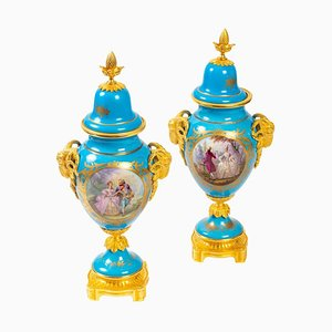 Sèvres Porcelain and Bronze Vases, Set of 2