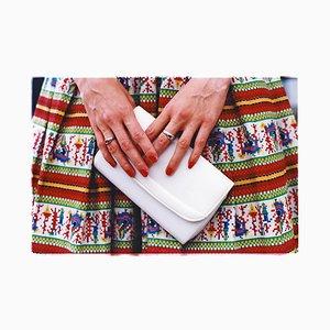 Bolso blanco, Goodwood, Chichester, Moda femenina, 2009, Fotografía en color