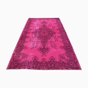 Vintage Turkish Handmade Floral Oushak Area Rug in Purple Wool