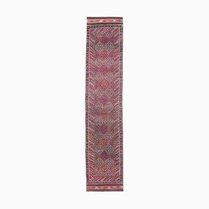 Vintage Turkish Handmade Oushak Runner in Purple Wool