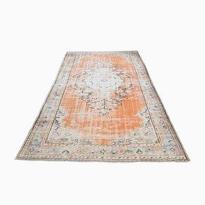 Handgefertigter türkischer Vintage Oushak Area Teppich aus orangener Wolle