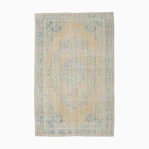 Antiker Handgemachter Türkischer Oushak Teppich aus Gelber Wolle