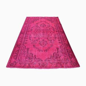 Vintage Turkish Handmade Oushak Area Rug in Overdyed Pink Wool