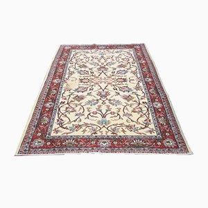 Antiker Teppich aus reiner Wolle in Rot & Beige