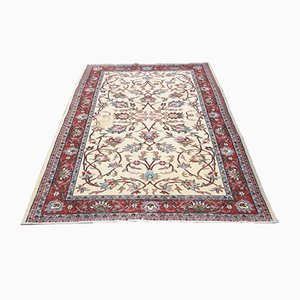 Antique Pure Wool Rug in Red & Beige