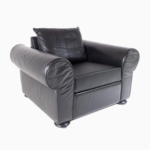 Large Vintage Black Leather Club Armchair from Cor Germany