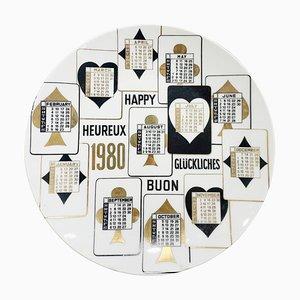 Assiette Calendrier en Porcelaine pour l'Année 1980 par Piero Fornasetti
