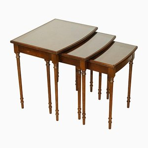 Vintage Brown Mahogany Nesting Tables with Glass Top on Reeded Legs, Set of 3