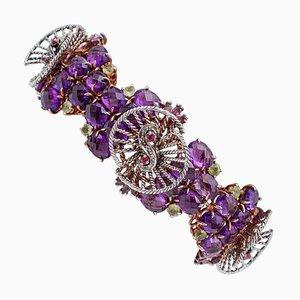 Hydrothermal Amethyst, Ruby, Peridot, Diamond, 9K Rose Gold & Silver Bracelet