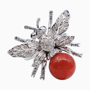 Coral, Diamond, Sapphire & 14 Karat White Gold Bee Ring