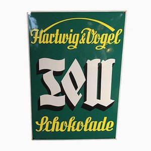Cartel Tell Schokolade esmaltado de Hartwig & Vogel