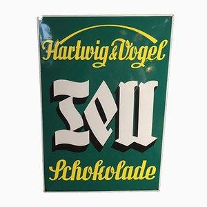 Insegna Tell Schokolade smaltata di Hartwig & Vogel