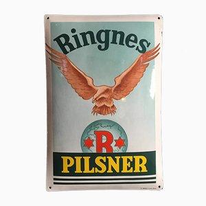 Vintage Enamel Ringnes Pilsner Sign, 1930s