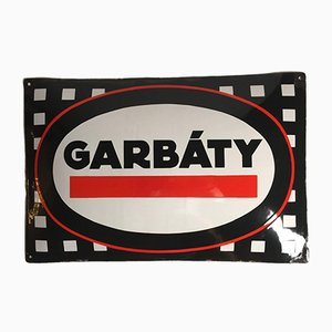 Vintage Enamel Garbaty Sign, 1920s