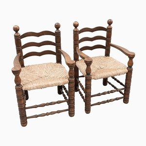 Early 20th Century Rustic Armchairs in Wood and Rattan, Set of 2