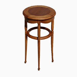 Vintage French Round Wooden Side or Sewing Table