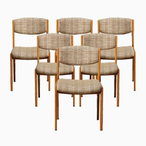 Vintage French Danish Style Boucle Chairs, Set of 6