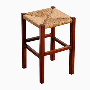 Vintage French Wood & Bast Stool or Plant Stand, 1960s