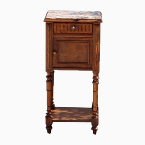 Vintage French Bedside Table with Grey & Red Marble Top