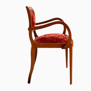 Vintage French Red Wooden Armchair