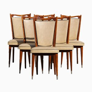 Mid-Century French Dining Chairs in Teak & Skai, Set of 6