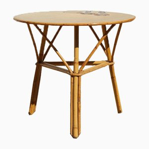 Vintage French Bamboo Tripod Coffee or Side Table