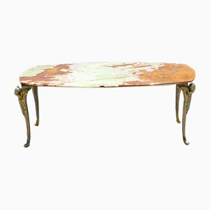 Vintage French Marble & Brass Coffee Table