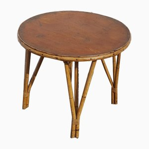 Mid-Century French Round Bamboo Coffee Table