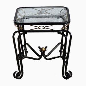 Vintage French Hollywood Regency Glass Side Table