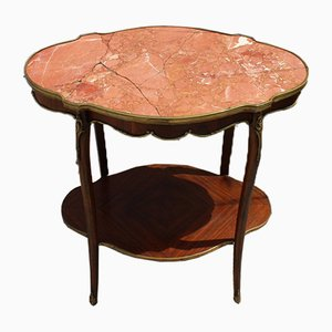 Vintage French Marble, Teak & Brass Coffee Table