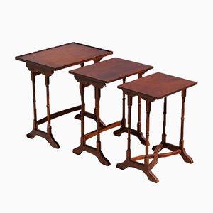 Vintage French Art Nouveau Teak Nesting Table Set