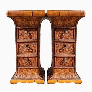Indonesische Vintage Kommoden aus Bambus, 2er Set