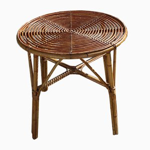 Round Vintage French Bamboo Coffee Table