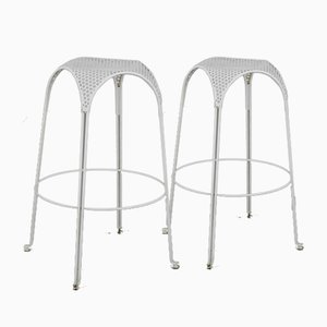 Bar Stools in White Painted Iron by Giuseppe De Vivo, Italy, 1950s, Set of 2