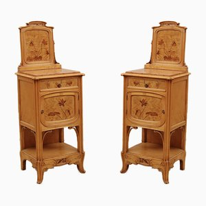 Art Nouveau Bedside Tables with Inlays and Marble Top, Set of 2