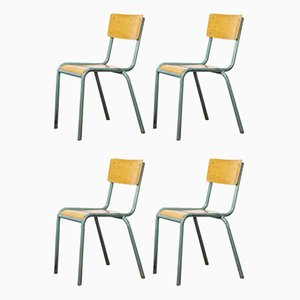 French 510/1 Mint Green Stacking Dining Chairs from Mullca, 1950s, Set of 4