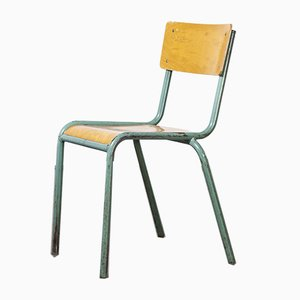 French 510/1 Mint Green Stacking Dining Chairs from Mullca, 1950s, Set of 24
