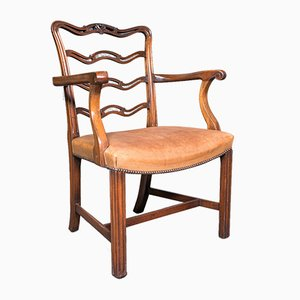 Vintage Irish Art Deco Ladder Back Study Chair in Leather