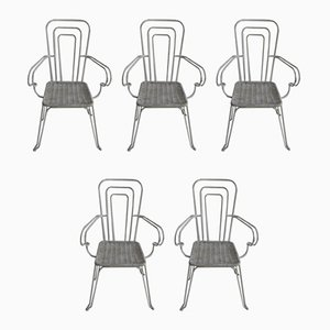 Lacquered Aluminum Chairs, Italy, 1960s, Set of 5