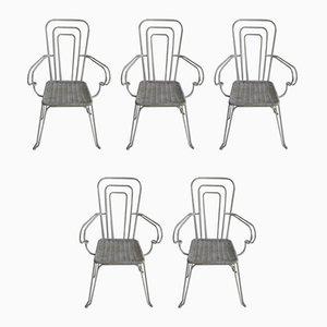 Sillas italianas de aluminio lacado, años 60. Juego de 5