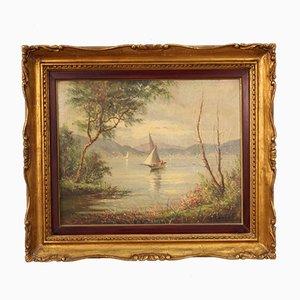 Französische Gemälde mit See mit Booten, gerahmt