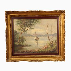 French Painting Depicting Lake with Boats, Framed