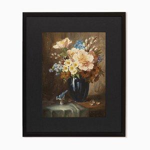Bouquet, olio su piatto, con cornice