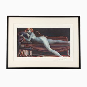 Weiblicher Akt auf Chaiselongue, Farblithographie, Gerahmt