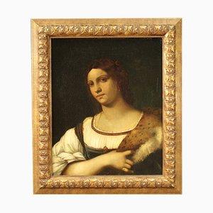 Antikes italienisches Portrait einer Adligen, 19. Jh., Gerahmt